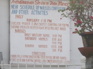 Schedule of Masses
