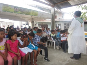 Holy Mass during the Turn-over of Houses at Tubigon, Bohol