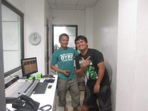 Puloy and Julius at the Technicians' Booth