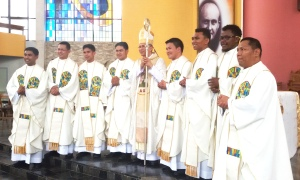 Bishop Reynaldo Evangelista with the New SVD Missionary Priests