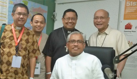 I was happy to pick up Bishop Roberto Mallari and Bishop Honesto Ongtioco at the hotel where they were staying because our SVD community invited the bishops for dinner. Fr. Bobby Ebisa, SVD and I toured them around our DYRF Radio station first.