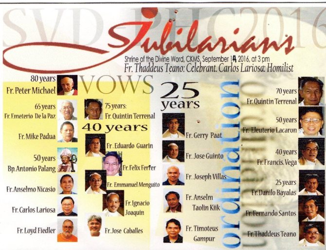 The Jubilarians in the Philippine Central Province of the SVD