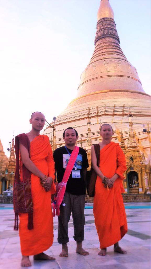 Conversation with these two monks in Shwedagon Pagoda, Yangon, Myanmar: MONKS: Are you Korean? ME: No, I'm a Filipino. (Blah, blah, blah) ME: By the way, are you from Myanmar? MONKS: No, we are from Thailand.