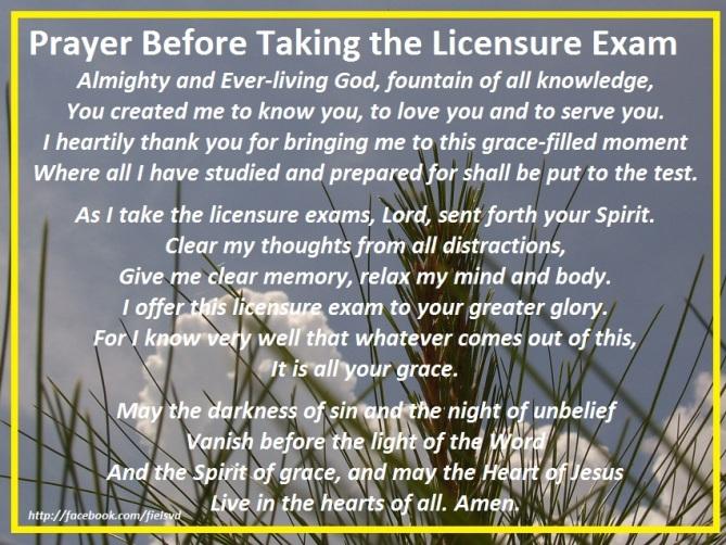 Prayer Before Taking the Licensure Exam
